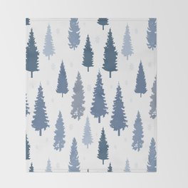 Pines and snowflakes pattern Throw Blanket