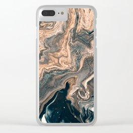 M A R B L E - copper & blue Clear iPhone Case