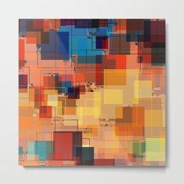 Multi color Square Geometrical Overlays Metal Print