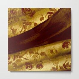 golden drape with marsala flowers Metal Print