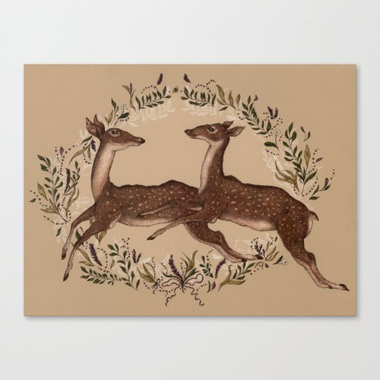 Jumping Deer Canvas Print