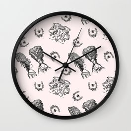 Rococo Toile in Pink Royal Icing Wall Clock