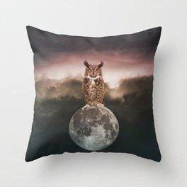 Owl Full Moon Throw Pillow