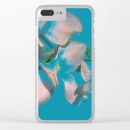 Dogwood Tree Flowers (aqua background) Clear iPhone Case