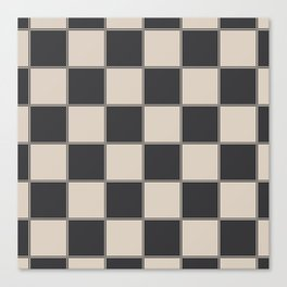 Traditional Checkerboard, Ecru-Beige and Chocolate-Deep Brown Canvas Print