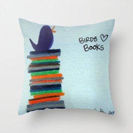 Birds Love Books Throw Pillow