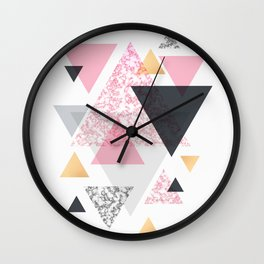 Multi Triangle - Rose Gold and Marble Wall Clock