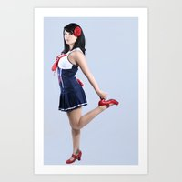pinup Art Prints featuring Pinup by fringefalcon