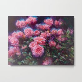 Out of Dust, impressionist pink roses Metal Print