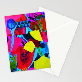 Colorful Bold Collage featuring Rabbit and Papaya Stationery Cards