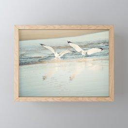 Seagull Beach Photography, Shore Birds Art, Pale Blue Ocean Bird Print, Coastal Photo Framed Mini Art Print