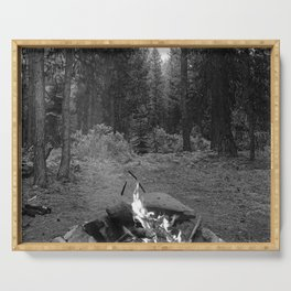 Backpacking Camp Fire B&W Serving Tray