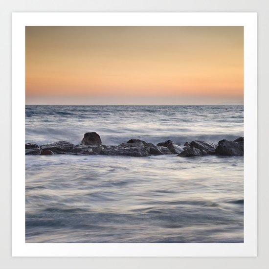Silver sea at sunset Art Print