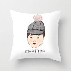 Moshi Moshi - White and Pink Throw Pillow