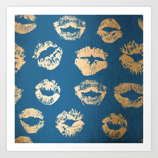 Metallic Gold Lips in Orange Sherbet and Saltwater Taffy Teal Shimmer Art Print