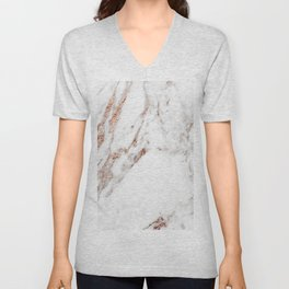 Rose gold foil marble Unisex V-Neck