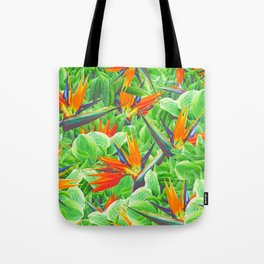 Strelitzia & Leaves Tote Bag