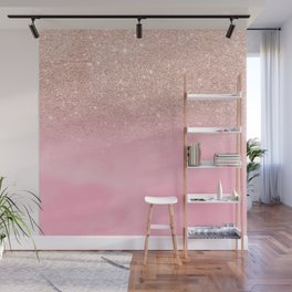 Modern rose gold glitter ombre hand painted pink watercolor Wall Mural