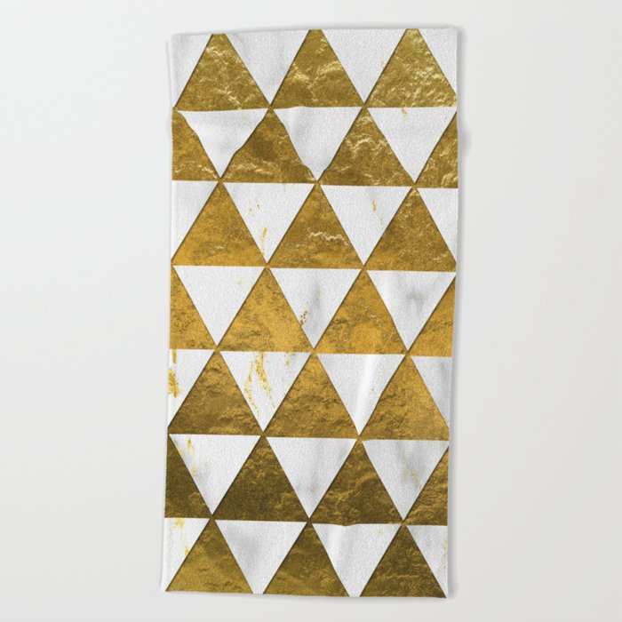 Marble and Gold Pattern #3 Beach Towel