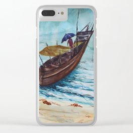 The Seaside view during monsoon season, fishermen returning back from work Clear iPhone Case
