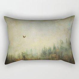 Nature forest fall bird crescent moon photo autumn dreamy home decor wall art surreal painting Rectangular Pillow