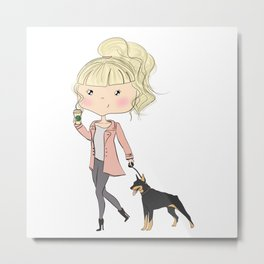 Girl With A Dog Metal Print
