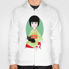 Japanese girl and kitty Hoody