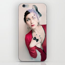 """""""Who Me?"""" - The Playful Pinup - Red and Black Pin-up Girl by Maxwell H. Johnson iPhone Skin"""