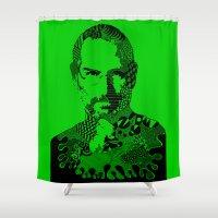steve jobs Shower Curtains featuring Steve Jobs green by Rebecca Bear