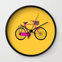 bicycle Wall Clocks featuring Bicycle  by bluebutton studio