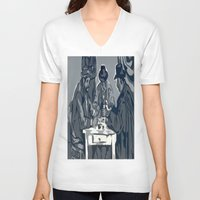 poker V-neck T-shirts featuring Poker Game by Kasey Jane