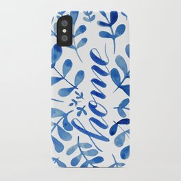 Watercolor home foliage - blue iPhone Case