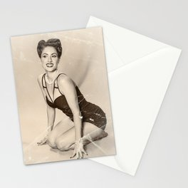 """Modern Swim-wear"" - The Playful Pinup - Vintage Weathered Pinup Girl by Maxwell H. Johnson Stationery Cards"