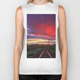 Northern sunset and a railway Biker Tank
