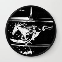 mustang Wall Clocks featuring Mustang  by Heidi Maly