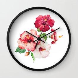 Watercolor Rose flowers Wall Clock