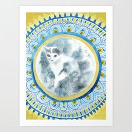 Cat Moon Indian Blossom Mandala Art Print