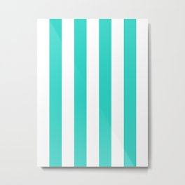 Vertical Stripes - White and Turquoise Metal Print