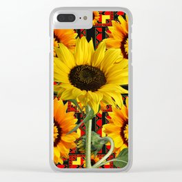 SOUTHWESTERN  BLACK COLOR YELLOW SUNFLOWERS ART Clear iPhone Case