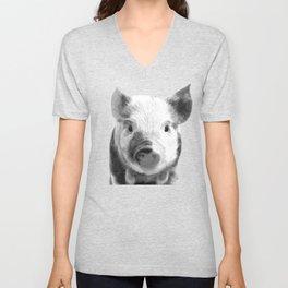 Black and white pig portrait Unisex V-Neck