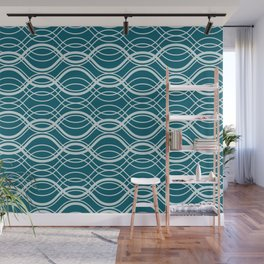 Pale Blue Thin Overlapping Wavy Horizontal Line Pattern on Tropical Dark Teal Inspired by Sherwin Williams 2020 Trending Color Oceanside SW6496 Wall Mural