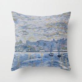 Sailboats on the Hudson Throw Pillow