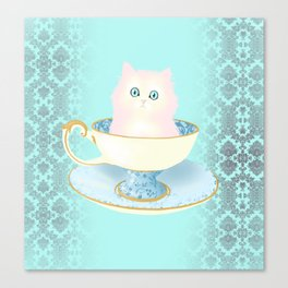 Pink Teacup Kitten Canvas Print