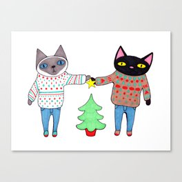 Cats in Sweaters Trimming the Christmas Tree Canvas Print