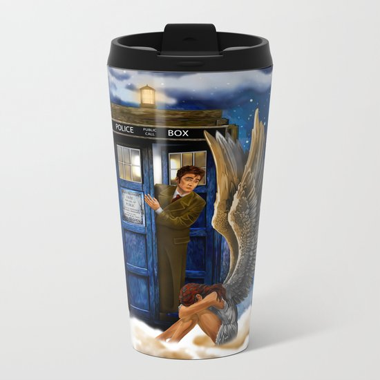 10th Doctor Who with Crying AngeL iPhone 4 4s 5 5s 5c, ipod, ipad, pillow case and tshirt Metal Travel Mug