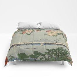 Cherry Blossoms on Spring River Ukiyo-e Japanese Art Comforters