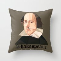 shakespeare Throw Pillows featuring William Shakespeare by Vi Sion