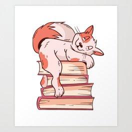 Smart Cat Reading Books Art Print