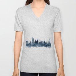 Barcelona Skyline Blue Watercolor by zouzounioart Unisex V-Neck