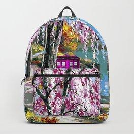 Tardis Art Cherry Blossom River Painting Backpack